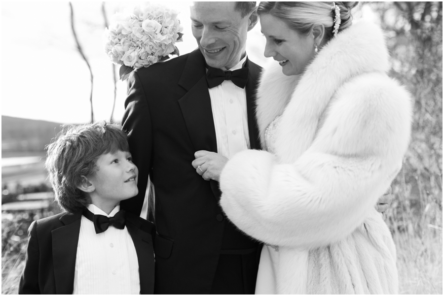 Hayfield Country Club Winter Wedding Photographer - Black and white family photo