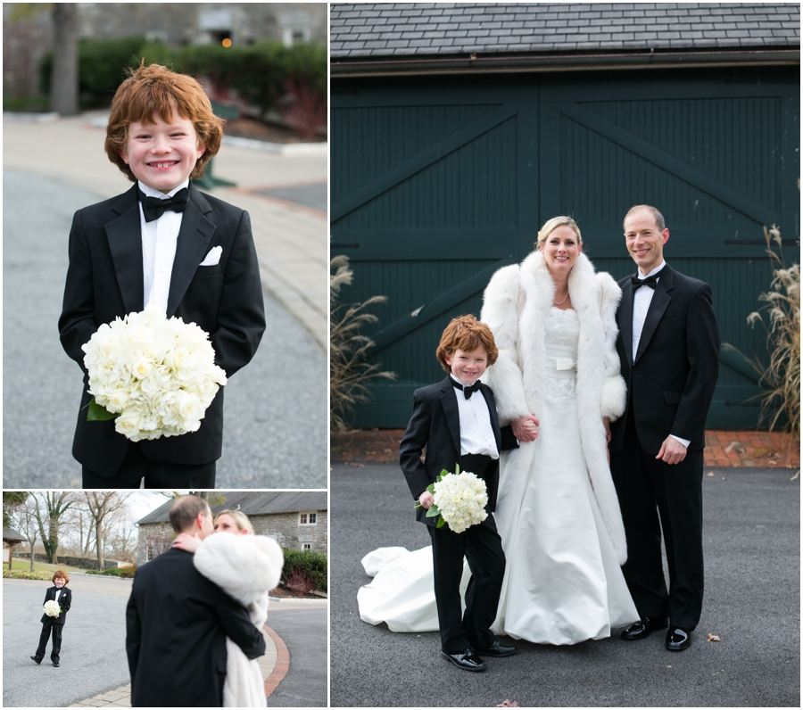 Hayfield Country Club Winter Wedding Photographer - Bowtie and white fur wedding