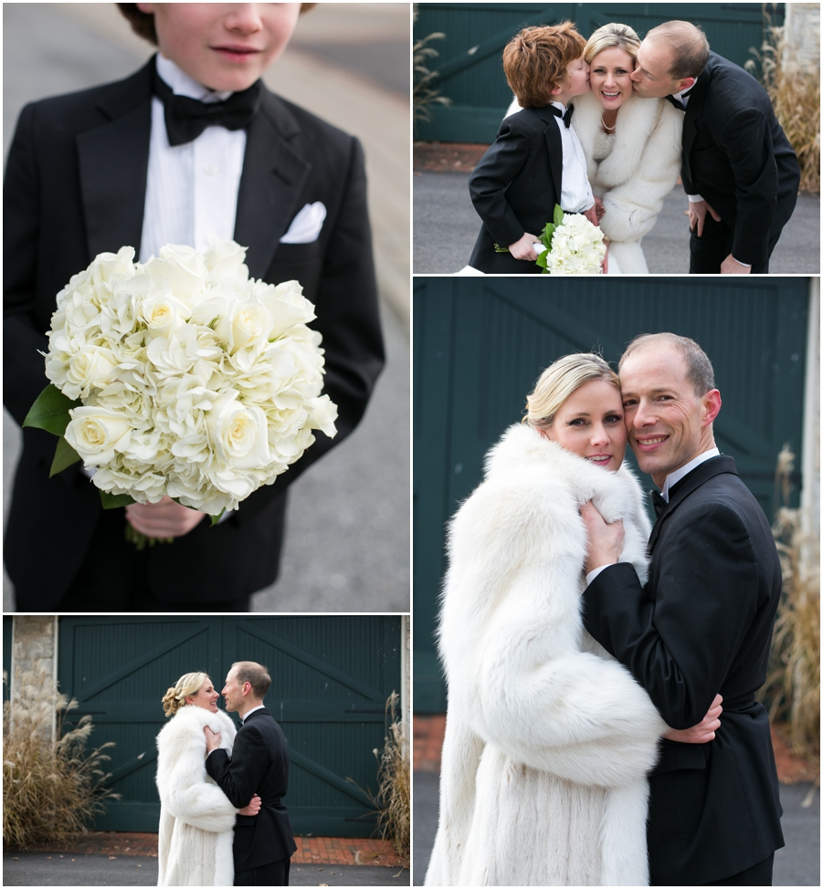 Hayfield Country Club Winter Wedding Photographer - wedding couple portrait with white fur