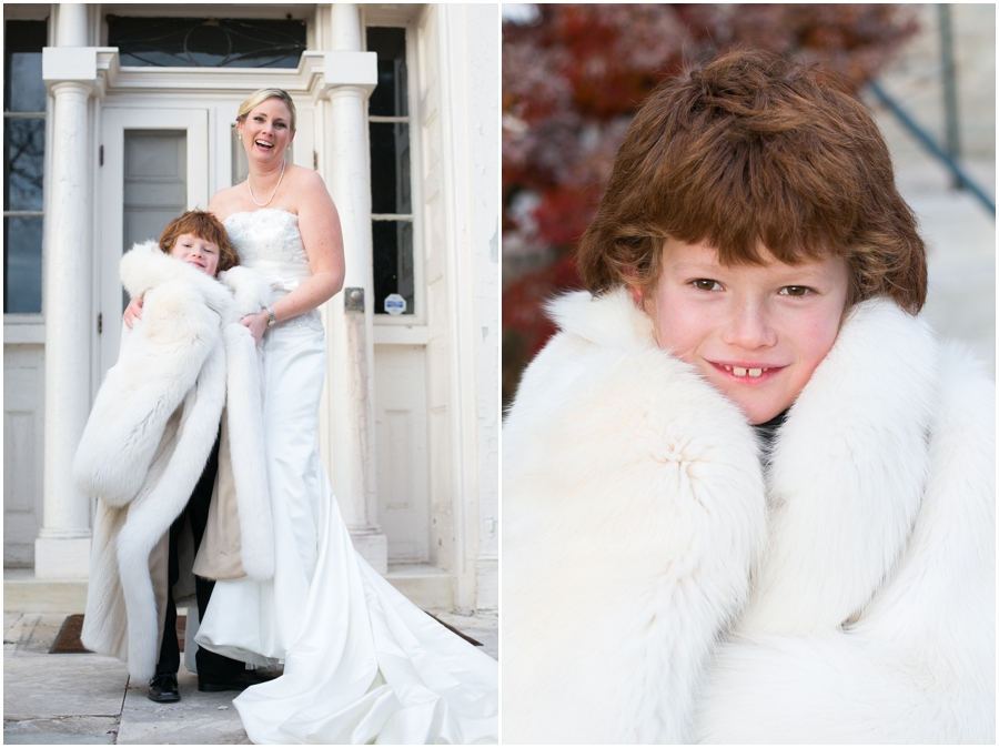 Hayfield Country Club Winter Wedding Photographer - white fur wedding coat