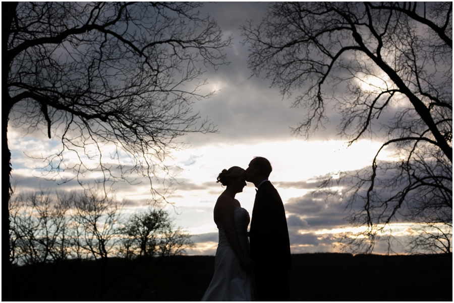 Hayfield Winter Wedding Photographer - silhouette of bride and groom