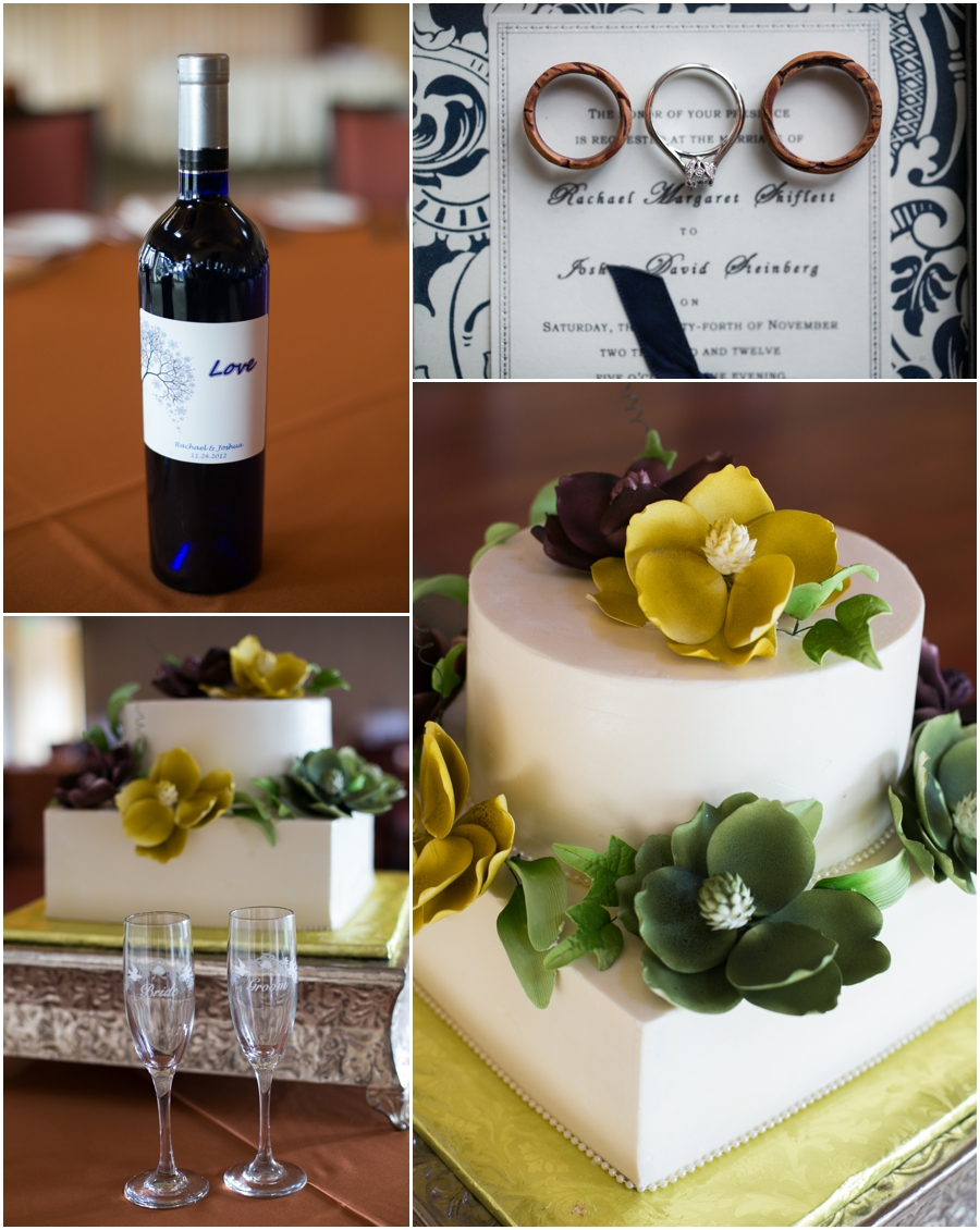 Hayfield Winter Wedding Photographer - wedding cake details - love wine bottle - plum core wedding ring
