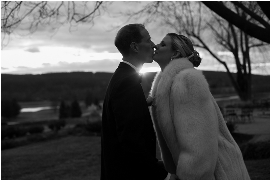 Hayfield Winter Wedding Photographer - black and white silhouette during sunset