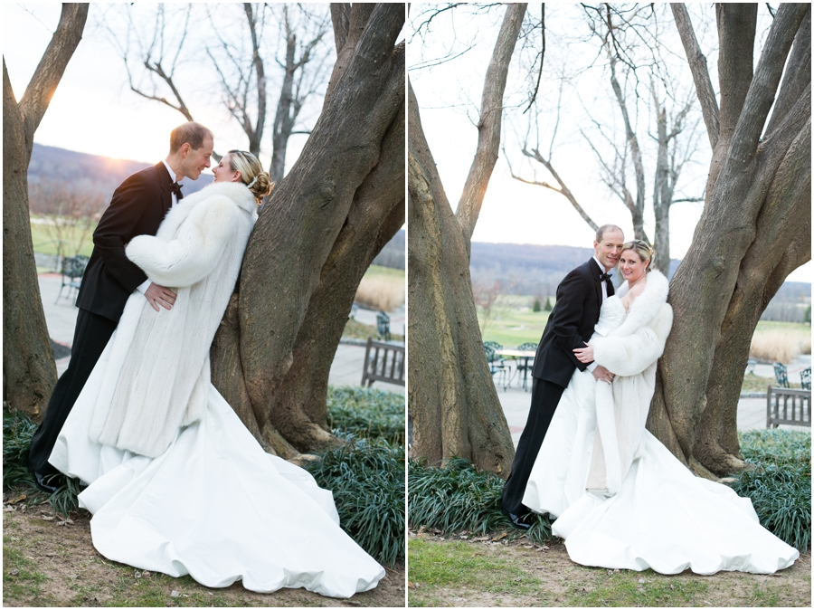 Hayfield Winter Wedding Photographer - bride and groom in tree at sunset