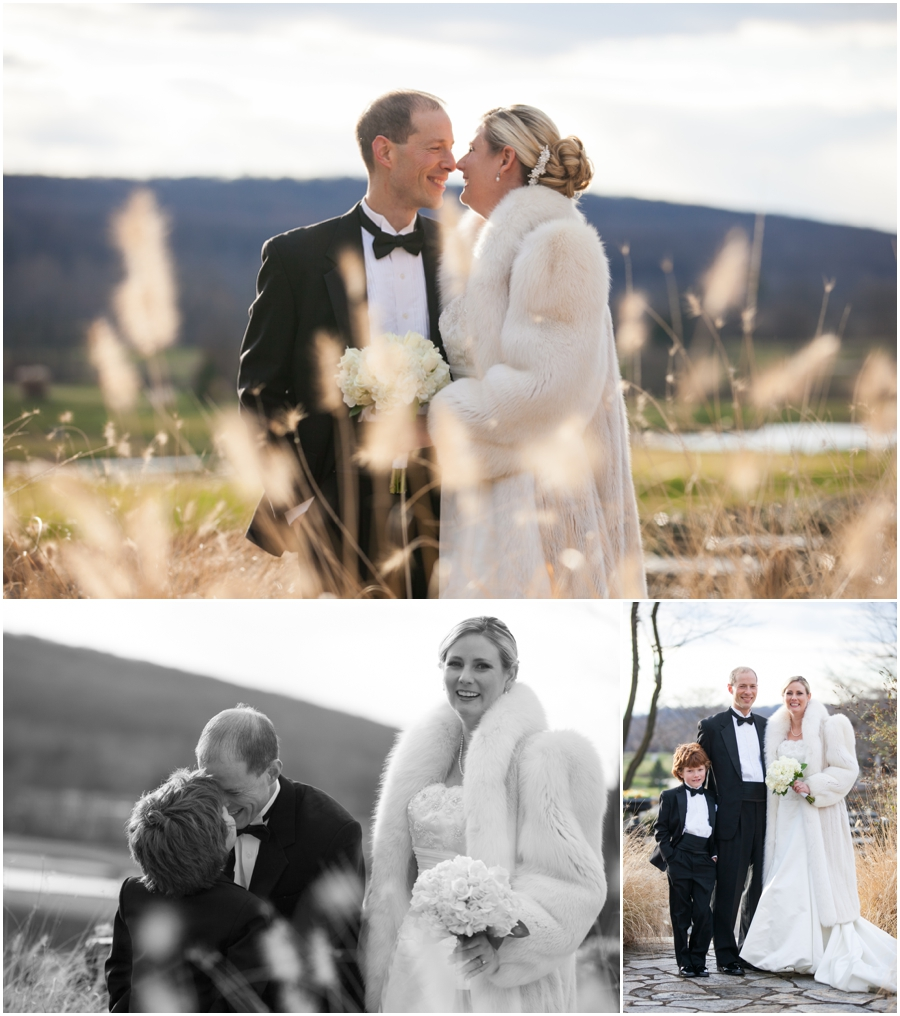 Hayfield Country Club Winter Wedding Photographer - bride and groom through tall grasses