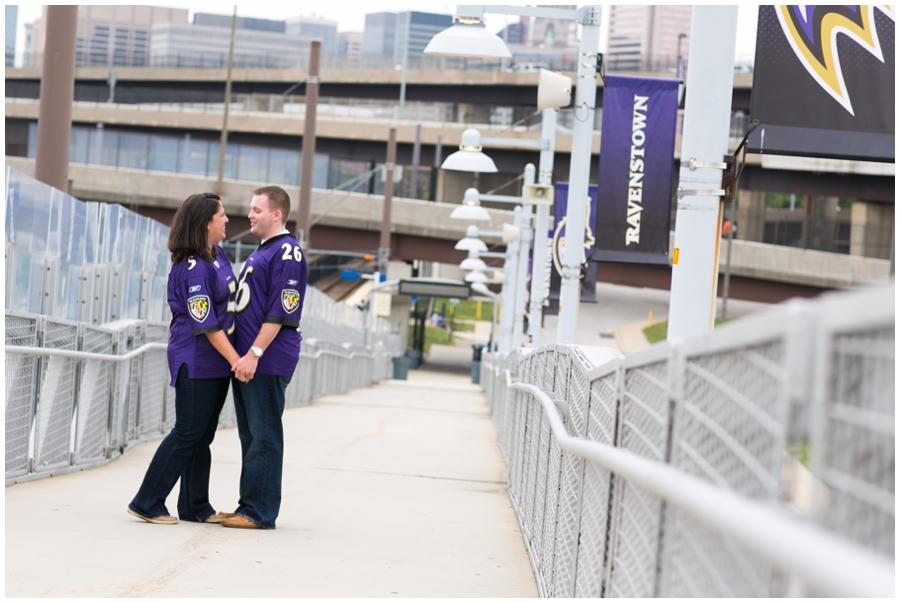 Baltimore Ravens Engagement Photos - Stadium walkover photo - Katey & Frank