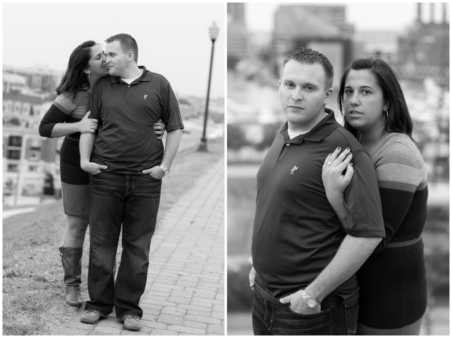 Baltimore Federal Hill Engagement Photos - black and white overlook photo - Katey & Frank