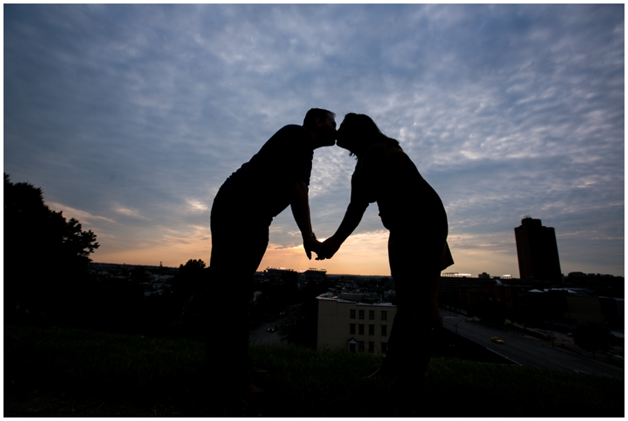 Sunset Silhouette Engagement Photos - Federal Hill Engagement Photographer - Katey & Frank