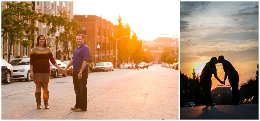 Sunset Sunflare Engagement Photos - Federal Hill Engagement Photographer - Katey & Frank