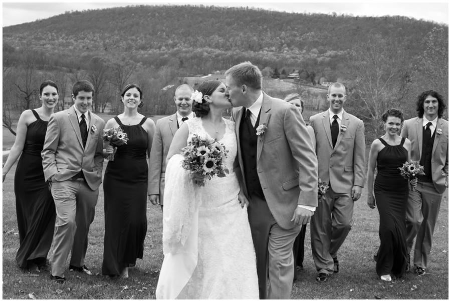 Liberty Mountain PA Wedding - PA Wedding Photographer - B&W Bridal party Wedding Photographer