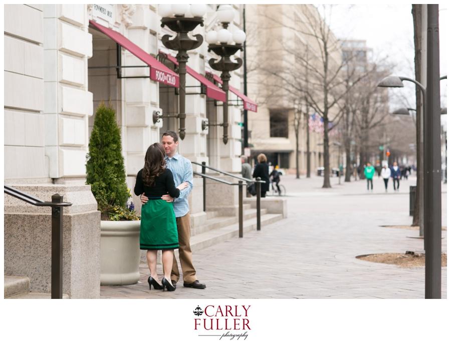 Washington DC Engagement - Love Session at Fogo de Chao - Green Dress