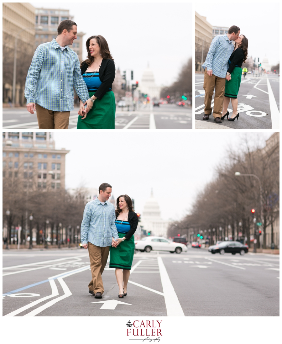 Washington DC Engagement - Love Session at the Capital - Green Dress in the middle of the street