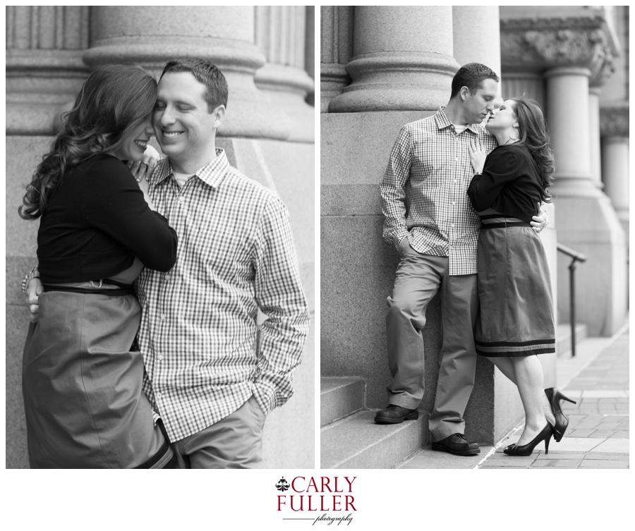 Washington DC Engagement - Love Session at Fogo de Chao - Black and white romantic photo