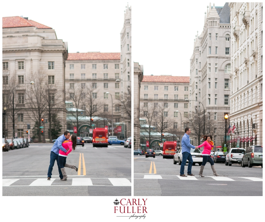 Washington DC Engagement - Destination Love Session - Middle of the Street Photo