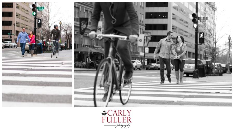 Washington DC Engagement - black and white bike and Cross Walk photo