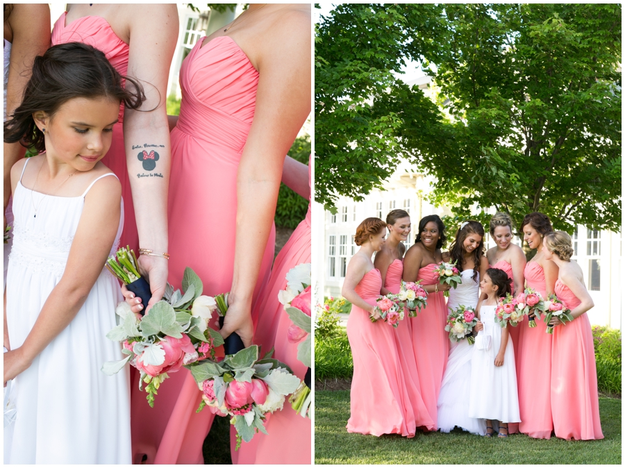 Chesapeake Bay Wedding Photographer - Waterfront Wedding Photographer - Coral bridesmaid dress