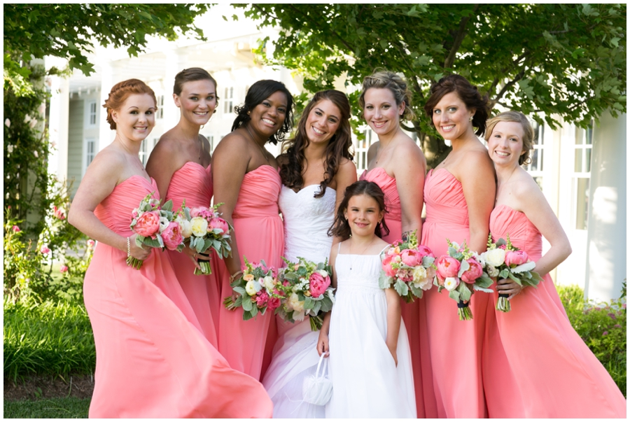 Chesapeake Bay Beach Club Wedding Photographer - Waterfront Wedding Photographer - Coral bridesmaid dress