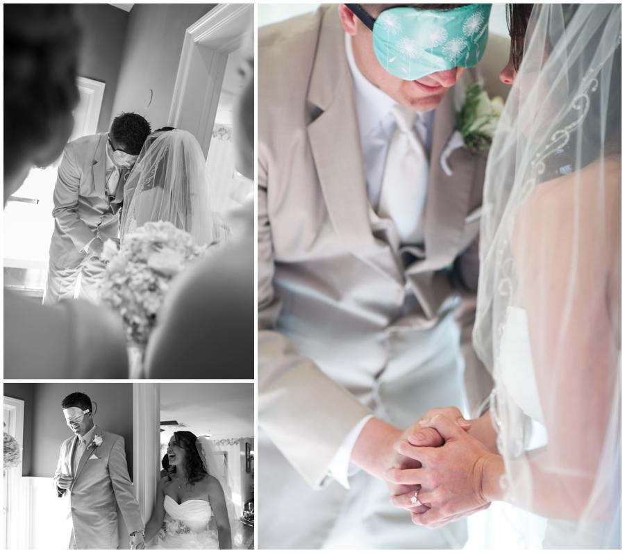 First Look - Bride and groom prayer - Beach House Wedding - Waterfront Bridal Portrait