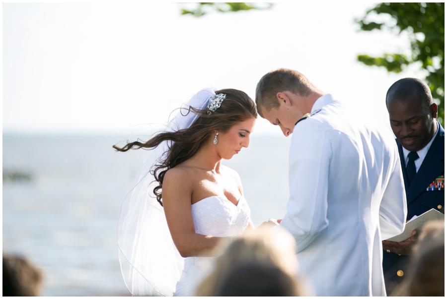 Chesapeake Bay Beach Club Wedding Photographer - Waterfront Wedding Ceremony Photographer - Chesapeake Bay Sunset Ceremony