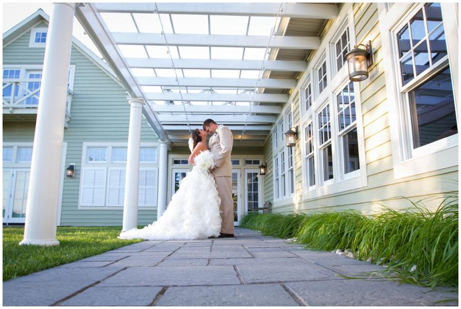 Beach Club Wedding Portrait - Waterfront Outdoor Bride and groom portrait