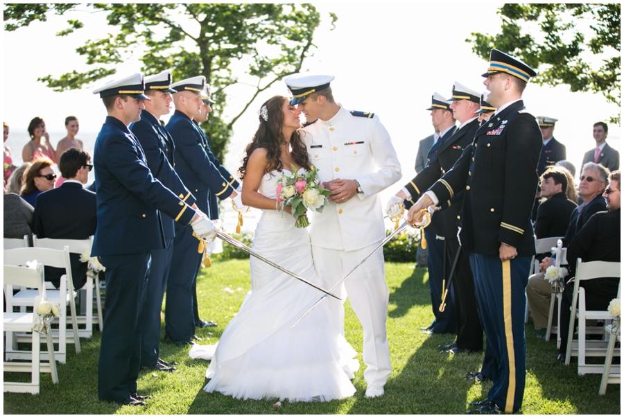 Chesapeake Bay Sword Ceremony - Waterfront Wedding Ceremony Photographer - Chesapeake Bay Sunset Ceremony