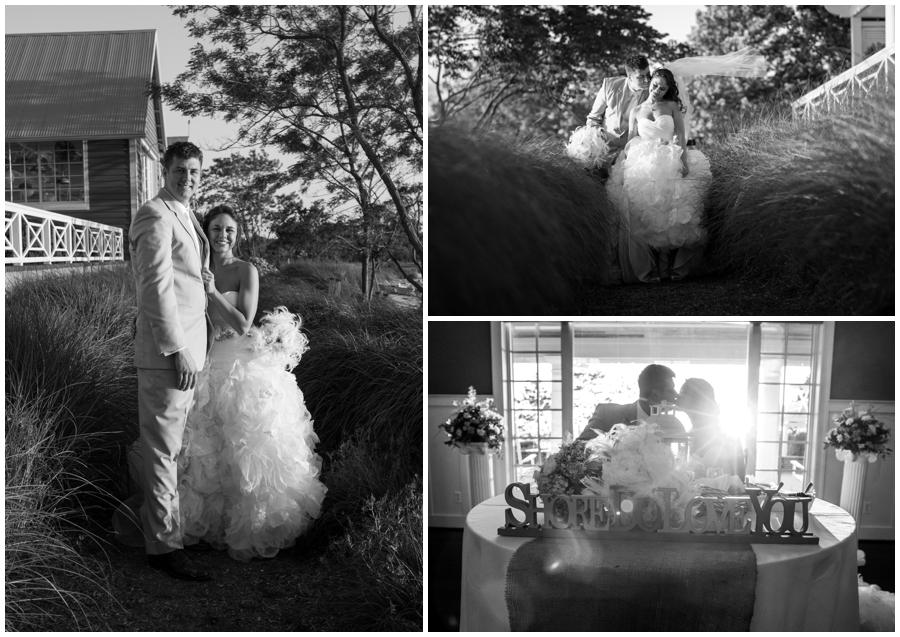 Beach Club Wedding photographer - Waterfront Outdoor Bride and groom portrait