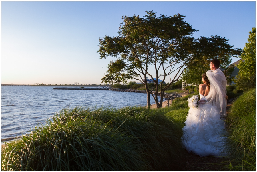 Chesapeake Bay Wedding photographer - Waterfront Outdoor Bride and groom portrait