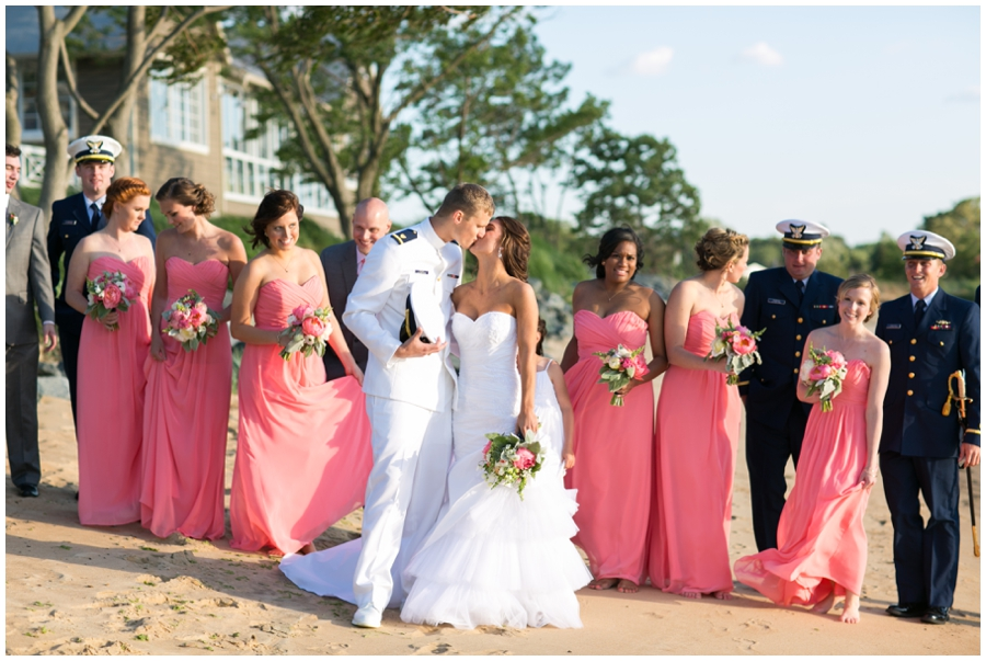 Waterfront Wedding Photographer - Local Color Flowers - Chesapeake Bay Beach Wedding Party Photograph
