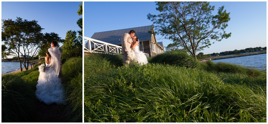 Chesapeake Bay Bridge Wedding photograph - Beach Sunset Bride and groom photo