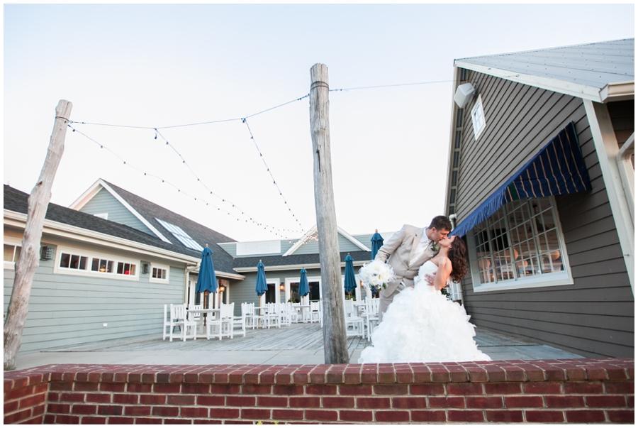 Chesapeake Bay Beach Club Couple Wedding photograph - Beach Sunset Bride and groom photo
