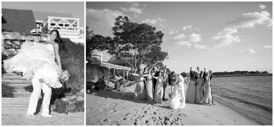 Black and White Wedding Party Photo - Beach Wedding Party Photography - Chesapeake Bay Beach Club Wedding Photographer