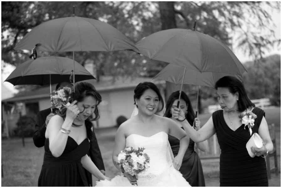 Rainy Wedding Black and white photograph - Swan harbor Farm rainy wedding