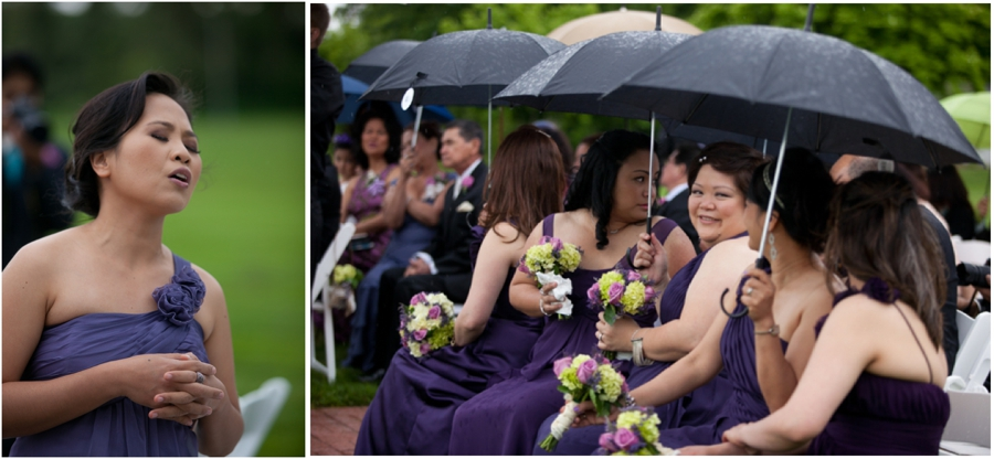 Rainy Wedding ceremony photograph - Swan harbor Farm rainy wedding