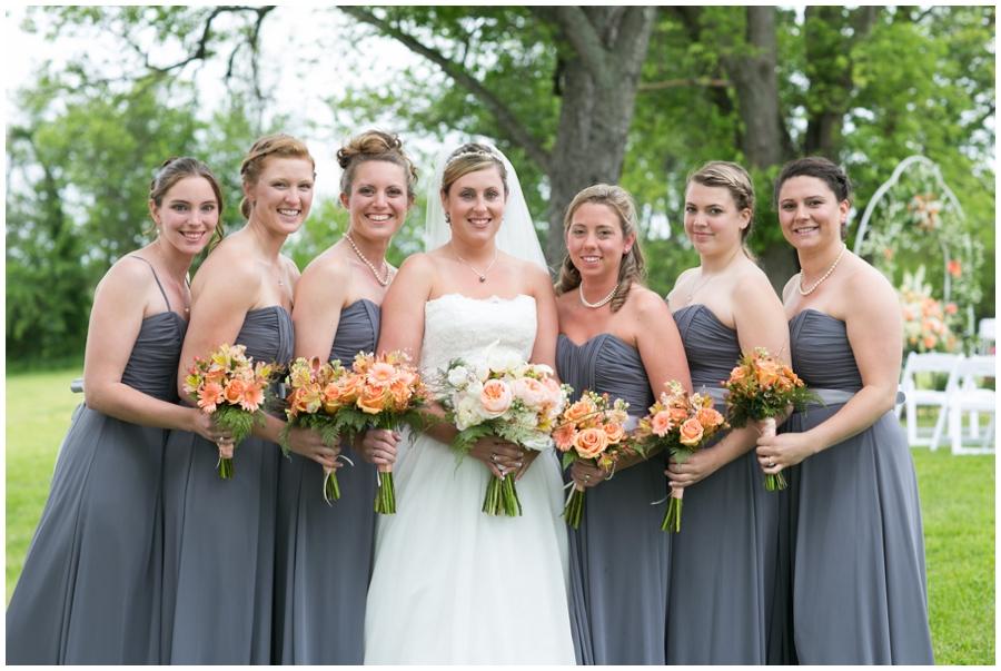 Spring Farm Bridal Party Portrait - Davidsonville Farm Wedding Photographer