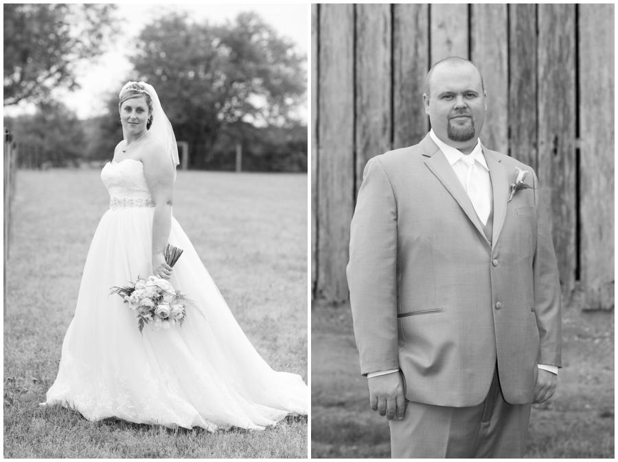 Spring Farm cowgirl Bride and groom Portrait - Davidsonville Farm Wedding Photographer
