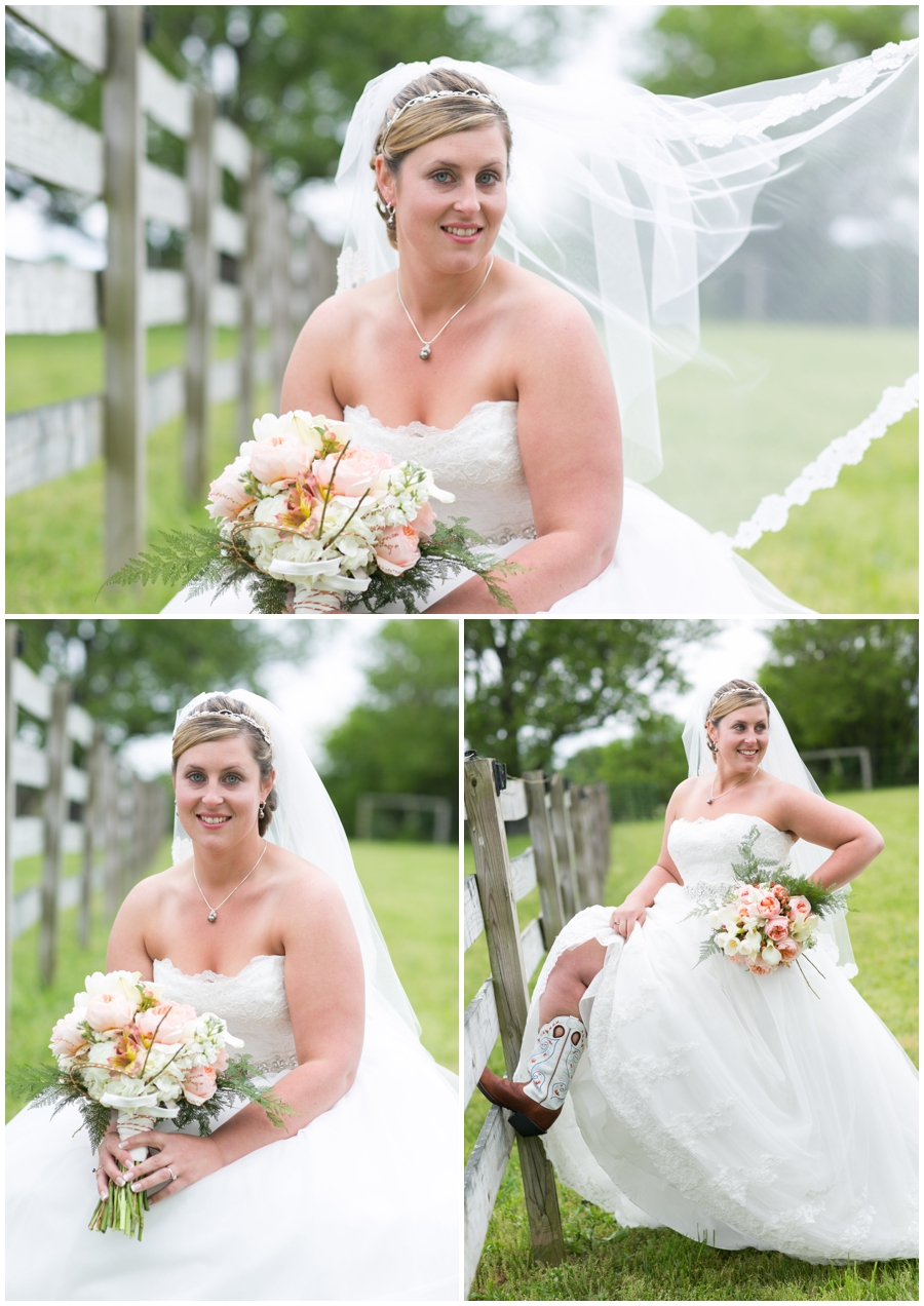 Spring Farm cowgirl Bride Portrait - Davidsonville Farm Wedding Photographer