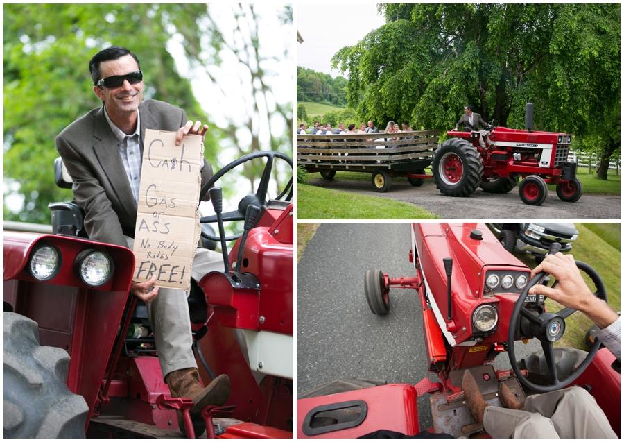 Tractor Wedding Transportation - Spring Farm country wedding ceremony - Davidsonville Country Farm Wedding Photographer