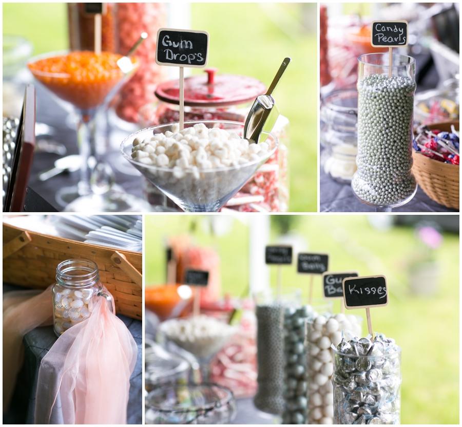 Farm wedding Candy Bar details - Davidsonville Farm Wedding Photographer