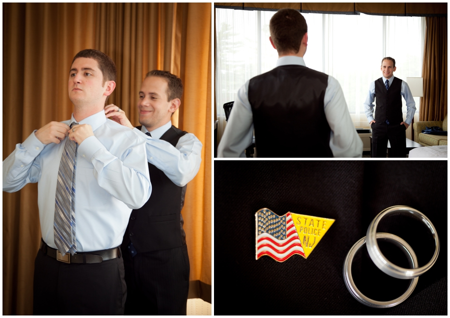 MA Destination Wedding Photographer - Groom and Groom Getting Ready at Hotel