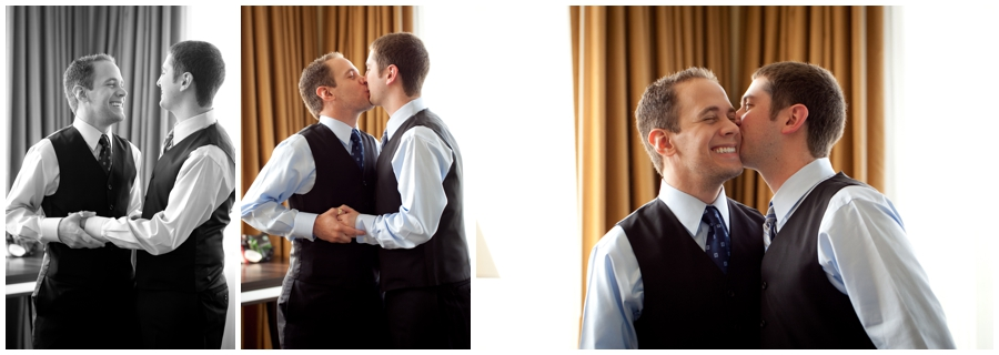 MA LGBT Wedding Photographer - Groom and Groom Getting Ready at Hotel