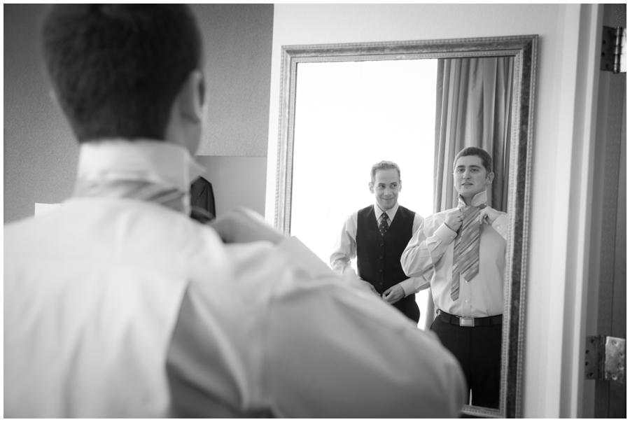 MA LGBT Wedding Photographer - Wedding Couple getting ready at hotel