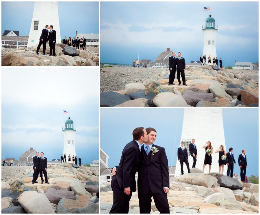 Scituate MA Lighthouse Wedding Photograph - MA Destination Wedding Party