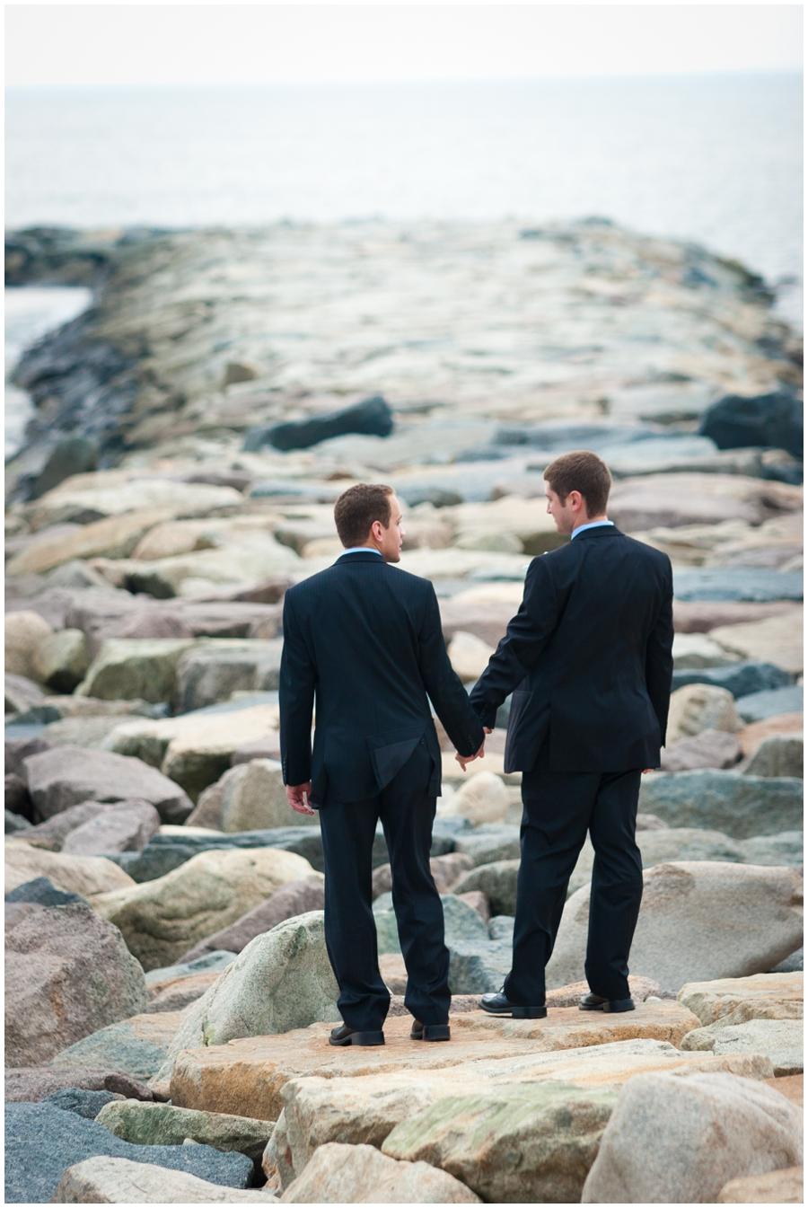 Scituate MA Lighthouse rocks couple Photograph - MA LGBT Destination Wedding Photographer