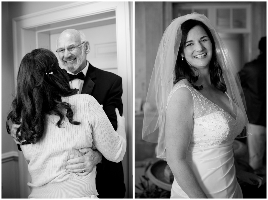 Black and white father daughter wedding photograph