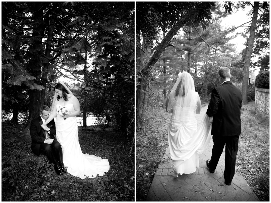 Black and white wedding photograph - Bride and groom under trees