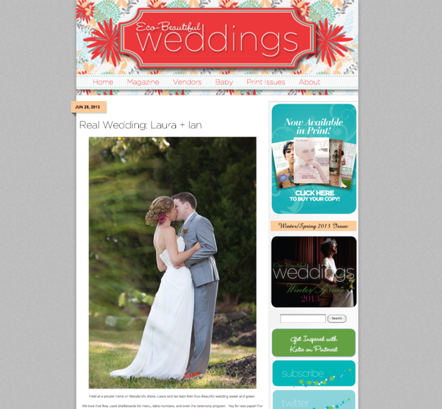 Wye River Wedding Featured on Eco-Beautiful Wedding Blog - Cherry Blossom event - Carly Fuller Photography