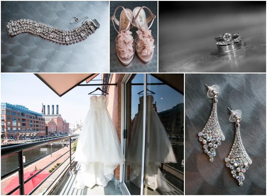 Downtown Baltimore Wedding Photographer - Pier 5 Hotel Bridal Details - Maggie Sottero Dress