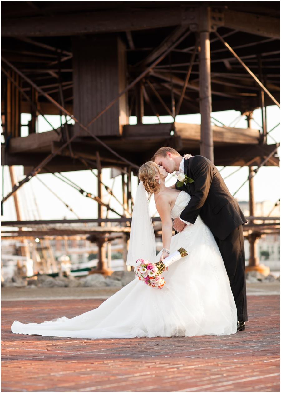 Downtown Baltimore Wedding Photographer - Pier 5 Lighthouse Epic Bridal Portrait- Pier 5 Hotel Wedding Photographer
