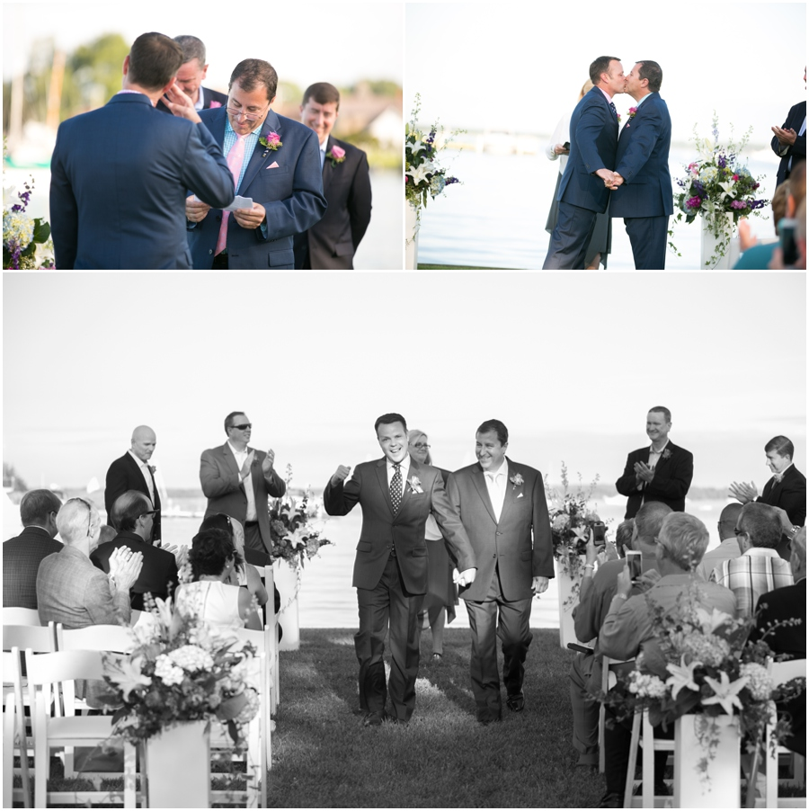 August outdoor ceremony - Inn at Perry Cabin Wedding Photographer - Summer waterfront Wedding ceremony