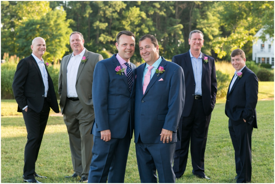 August outdoor wedding portrait - Inn at Perry Cabin Wedding Photographer - Summer waterfront Wedding party